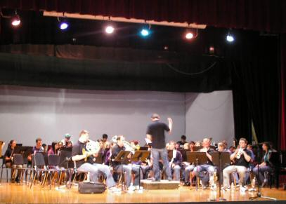 Presidio Brass working with the Tillamook High School Band.